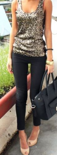 I AM BUYING ALL OF THIS! SPARKLY SEQUIN TANK AND BLACK SKINNY JEANS & NUDE SHOES