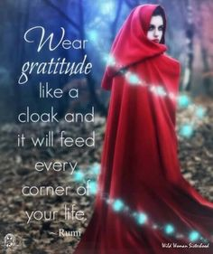 Wear gratitude like a cloak and it will feed every corner of your life... - Rumi WILD WOMAN SISTERHOOD™