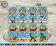 toy story thank you tags toy story favor tags by vilkprintsshop - Toy Story Activity Center Download