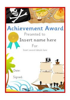 Editable pirate themed certificate. #teachingresources