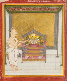 A priest performing a ritual at a shrine to Krishna Kotah, circa 1810-20