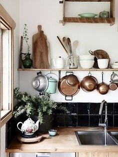 Lovely old copper pots and pans