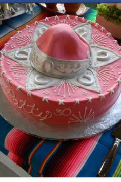Sombrero cake Fiesta Cake, Mexican Fiesta Party, Fiesta Theme Party, Taco Party, 80 Birthday Cake, 50th Birthday Gifts, Adult Birthday Party, Mexican Dessert Recipes, Mexican Party Decorations