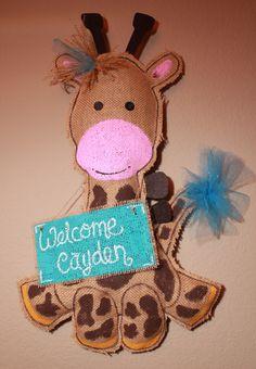 Giraffe Baby Door hanger  giraffe hospital shower by Cutipiethis on etsy