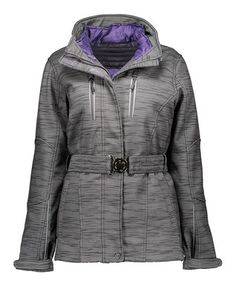 Charcoal Heather Buckle-Front Hooded Coat