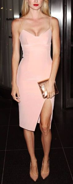 Turn some heads in a blush bodycon dress.