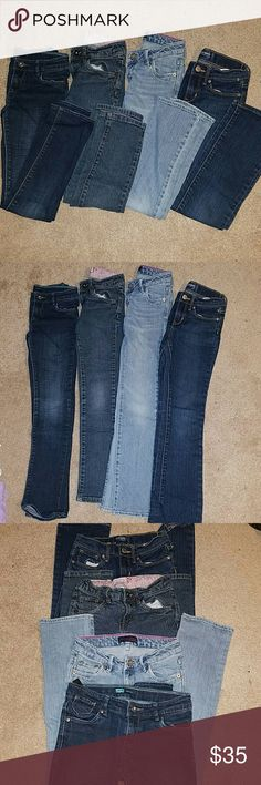 Jeans 4 pair of blue jeans size 8 for your little girl. All skinny cut. Button closure. No holes. Like new. Adjustable waist straps. Levi's and Old Navy brands. Levi's Bottoms Jeans