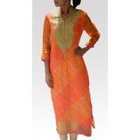 Orange & Peach Leheriya Kota Silk Tunic, Leheriya- one of the many tie and dye patterns that gives wavy pattern symbolizing water waves (Lehe