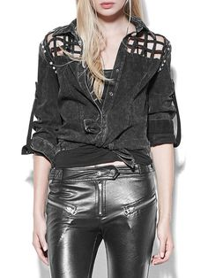 Shop Cropped Jackets - Black Statement Denim Plain Shirt Collar Cropped Jacket online. Discover unique designers fashion at StyleWe.com.