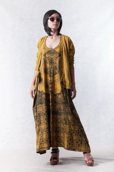 NO.108     Mustard and Army Green Cotton Jersey Low Neck Lace Printed Racerback Sleeveless Dress