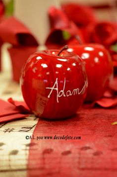 On croquerait presque dans cette belle pomme rouge ! Vous pouvez suspendre cette pomme ou la disposer tout simplement sur une #table .www.decodefete.com