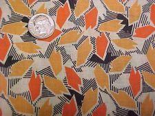 """Vintage Antique Cotton Quilt Doll Fabric Print 1920s Remnant Orange Black 8x30"""""""