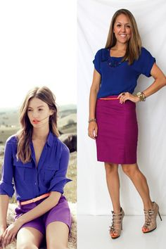 Purple Outfit. I like the color of the skirt color with the royal blue.  Wouldn't have thought to do that.