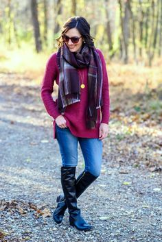 Casual Winter Outfit Inspo: Red Ribbed Mock Neck Pullover with Plaid Scarf, Skinny Jeans, and black leather OTK flat boots