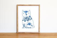 Illustrazione da scaricare subito con un gatto di ceramica bianco e blu per la cameretta e la nursery di IlluminoHomeIdeas su Etsy