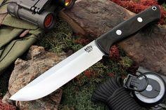 Knives By Maker :: Bark River Knives :: Bravo 1.5 (3V Steel) :: Bark River Knives: Bravo-1.5 CPM 3V Steel, Rampless (Smooth Spine), Fixed Blade Survival / Bushcraft / Hunting / Outdoor / Collector Knife w/ Black Canvas MIcarta Handle