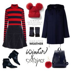 """""""Sweater Weather in Stripes"""" by ellie366 ❤ liked on Polyvore featuring J.Crew, P.A.R.O.S.H., Jimmy Choo, Tomas Maier, rag & bone, L.K.Bennett, Gap, stripes, velvet and turtleneck"""