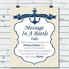 Nautical Baby Shower Printable Sign And Cards Custom Message