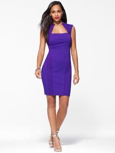 Sexy sheath dress in a luxe blend with textured feel. Cap sleeves. Contoured silhouette. SleevelessOpen neckTextured knit fabricLinedBack zipHook and eye closure39 inch body length90% Polester 10% Spa