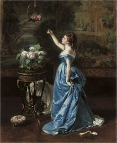 An Exotic Companion by Auguste Toulmouche (1829-1910)