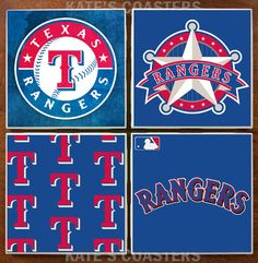 Set of 4 Texas Rangers baseball sublimation ceramic tiles by KatesCoasters, $10.00
