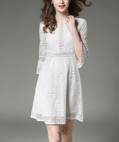 White Lace Bell-Sleeve A-Line Dress