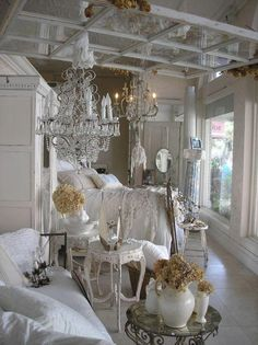 vintage bedroom - love the window frame above the bed