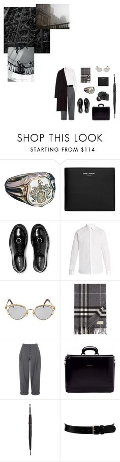 """""""Untitled #71"""" by jestniemabylo ❤ liked on Polyvore featuring Yves Saint Laurent, Neil Barrett, Valentino, Jean-Paul Gaultier, Burberry, Boutique, Alexander McQueen, Black & Brown London, Nikon and Zara"""