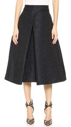 Monique Lhuillier Pleat Front Skirt