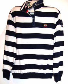 Paul&Shark Yachting AUTHENTIC Cotton Men's Italian Stripes Shirt Sweater Sz XL  #PaulSharkYachting #12Zip
