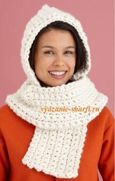 белый вязаный шарф с капюшоном крючком из толстой пряжи