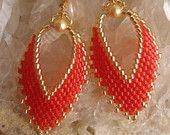 Items similar to Seed Bead Earrings -  Russian Leaf  -  Raspberry on Etsy. , via Etsy.