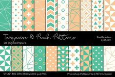 Turquoise & Peach Digital Papers. Scrapbooking