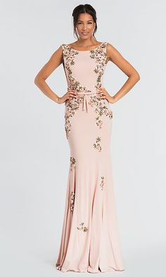 a72d4780841 Open-Back Long MOB Jovani Dress with Floral Beading