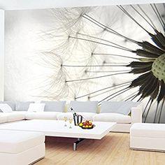 Fototapete Pusteblumen Schwarz Weiß Grau Vlies Wand Tapete Wohnzimmer  Schlafzimmer Büro Flur Dekoration Wandbilder XXL Moderne
