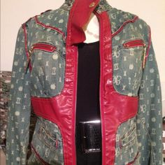 Apple Bottoms- Jean and Red leather Apple Bottom Jeans, Red Leather, Leather Jacket, Fashion History, Jean Jackets, Awesome, Amazing, Military Jacket, Fashion Design
