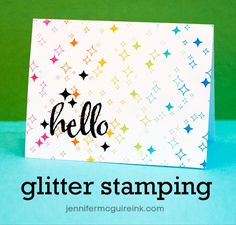 Superb card and video tutorial for using glitter with sticky embossing powder.  Yet another great card from Jennifer McGuire.