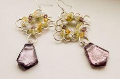 beaded earrings statement jewellery boho by LumaHandmadeJewelry