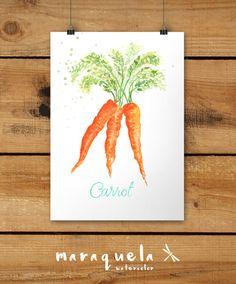 Art Print Carrot Watercolor.Zanahoria hecho a mano.Técnica acuarela. Hecho por Maraquela Watercolor www.facebook.com/maraquelawatercolor