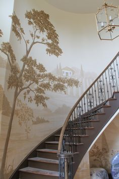 Part of a mural finished in the fall of 2013, in the 2 story foyer of Chanticleer Farm in Milton. Done in warm sepia tones, it evokes Old World charm and beauty...