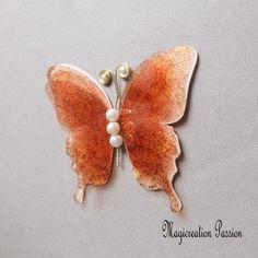 Papillon 3D décoration soie et transparent  orange 10 cm Transparent, Decoration, 3 D, Brooch, Orange, Support, Dimensions, Boutique, Jewelry