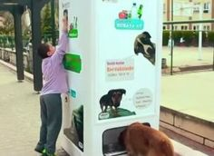 When you turn in recycled bottles this machine feeds stray dogs..........while I wish there were no stray animals  it gives everyone a chance to help easily