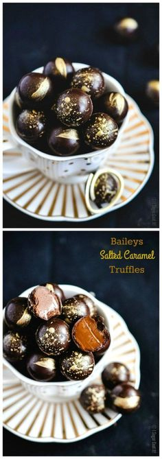 These Baileys Salted Caramel Dark Chocolate Truffles are melt-in-your-mouth magical with a thin dark chocolate shell filled with a creamy Baileys Salted Caramel Irish Cream filling.