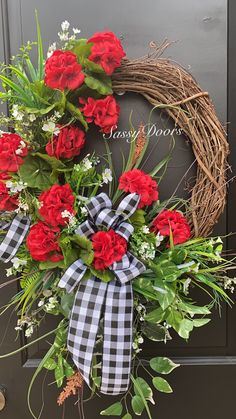 Spring Wreath Summer Wreath Welcome Wreath Red Geranium Wreath Mother s Day Wreath SassyDoors Wreath Spring Door Wreaths, Summer Wreath, Holiday Wreaths, Winter Wreaths, Holiday Ideas, Christmas Ideas, Wreath Crafts, Diy Wreath, Wreath Ideas