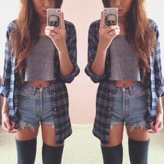 casual outfit❤ denim shorts / crop top / plaid blouse / high socks