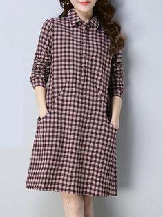 Cute Girl Dresses, Modest Dresses, Short Dresses, Cotton Shirt Dress, Plaid Dress, Dress Batik Kombinasi, Sleeves Designs For Dresses, Batik Dress, Mode Hijab