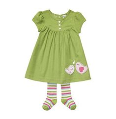 Carter's® Baby Girls' Lime Bird Dress Set with Tights