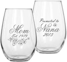 Mom Est. Cherryblossom Wine Glass with Promoted to Nana or Grandma on Back of Glass | 16oz or 21oz | 21 Fonts. ♥ Includes 1 16-ounce or 21-ounce Stemless Wine Glasses ♥ Choose your Glass Size ♥ Choose your Font for Titles (Note Promoted to, Est and Years will be in Font illustrated) ♥ Engraved with the highest resolution we offer to provide you with superb detail in the image. Engraving will be frosty white and is permanent ♥ An exclusive design created in our studio. Glass is made in USA...