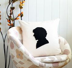 Sherlock Holmes silhouette pillow cover, black cream - Decorative Pillow cover - Natural Fabric - Felt Applique - 18x18 pillow - living room on Etsy, $24.00