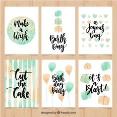 Pack of vintage watercolor birthday cards with messages Free Vector